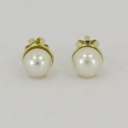 Zlaté dětské náušnice s perlou na šroubek Z60-161