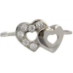 Zlatý prsten dvojité srdce se zirkony