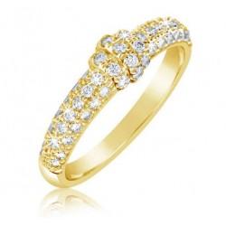Zlatý prsten ze žlutého zlata se zirkony