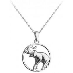 Stříbrný náhrdelník Slon v kroužku, vel. 42-45 cm