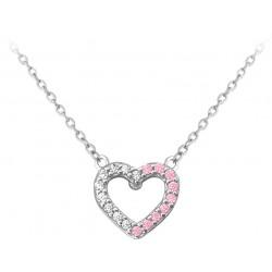Stříbrný náhrdelník SRDCE s bílými a růžovými zirkony, vel. 42-45 cm