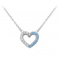 Stříbrný náhrdelník SRDCE s bílými a modrými zirkony, vel. 42-45 cm