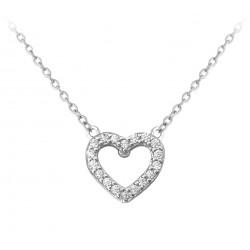 Stříbrný náhrdelník SRDCE s bílými zirkony, vel. 42-45 cm