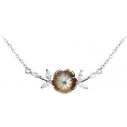 Černý rozkvetlý stříbrný náhrdelník FLOWERS se zirkony, vel. 42-45 cm