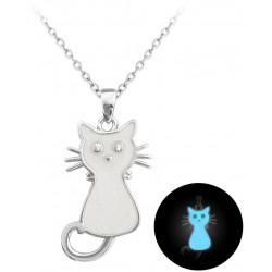 Svítící bílý stříbrný náhrdelník KOČIČKA, vel. 38-41 cm