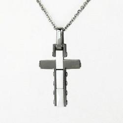 Řetízek a přívěsek křížek z oceli ST25-025, vel. 45-50 cm