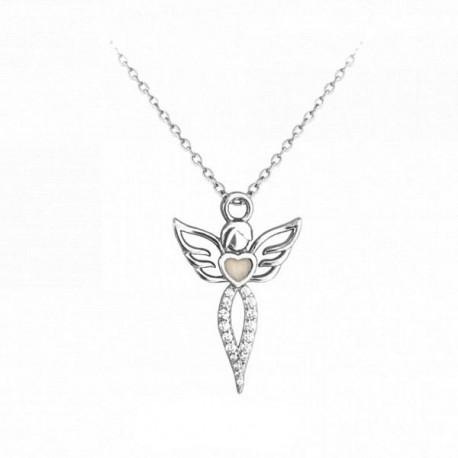 Svítící stříbrný náhrdelník anděl s čirými zirkony, vel. 42-45 cm