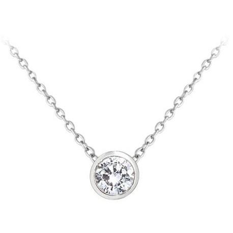 Stříbrný náhrdelník s bílým zirkonem, vel. 42-45 cm