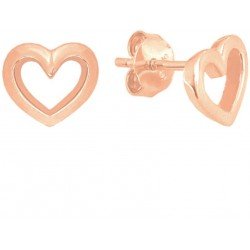 Stříbrné náušnice LOVE s Rose gold srdíčky