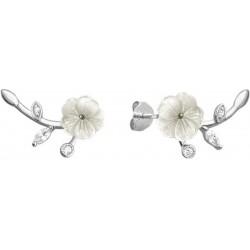 Bílé rozkvetlé stříbrné náušnice FLOWERS se zirkony