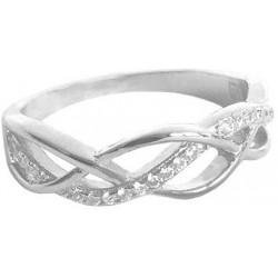Stříbrný propletený prsten s bílými zirkony