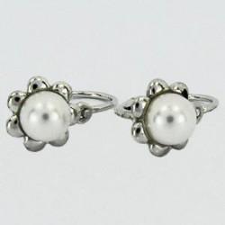 Stříbrné náušnice dětské s perlou S45-002