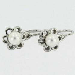 Stříbrné náušnice dětské s perlou S45-003