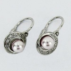 Stříbrné náušnice dětské s perlou S45-018
