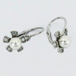 Stříbrné náušnice dětské s perlou S45-021