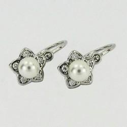 Stříbrné náušnice dětské s perlou S45-022