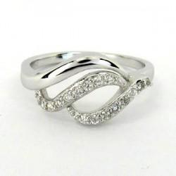 Stříbrný prsten s bílými zirkony S70-088