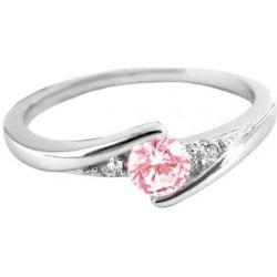 Elegantní stříbrný prsten s růžovým zirkonem