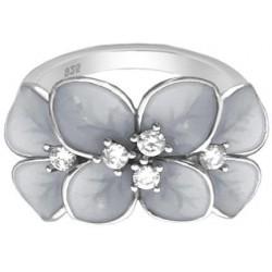 Rozkvetlý stříbrný prsten FLOWERS s bílými zirkony