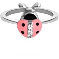 Stříbrný prsten růžová Beruška vykládaná zirkony