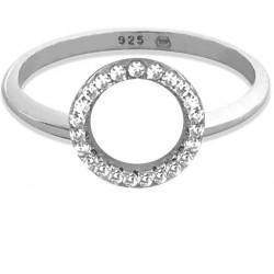 Stříbrný prsten KROUŽEK s bílými zirkony